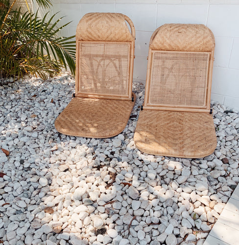 RATTAN FOLDING BEACH CHAIR