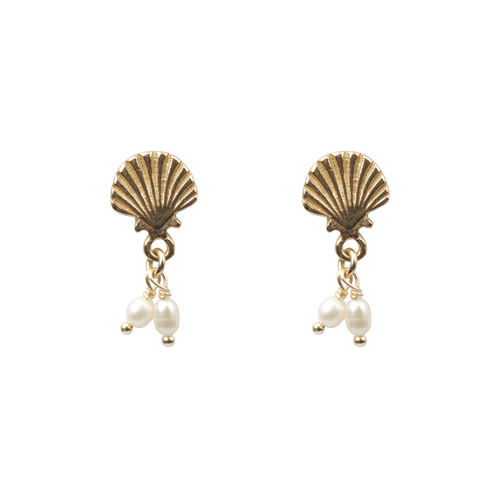À LA | SHELL WITH DOUBLE FRESHWATER PEARL EARRINGS