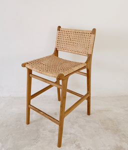 CASA | ISLANDER TEAK & RATTAN STOOL - WITH BACK | PRE ORDER
