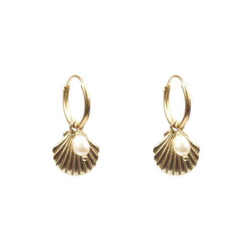 À LA SHELL WITH FRESHWATER PEARL EARRINGS