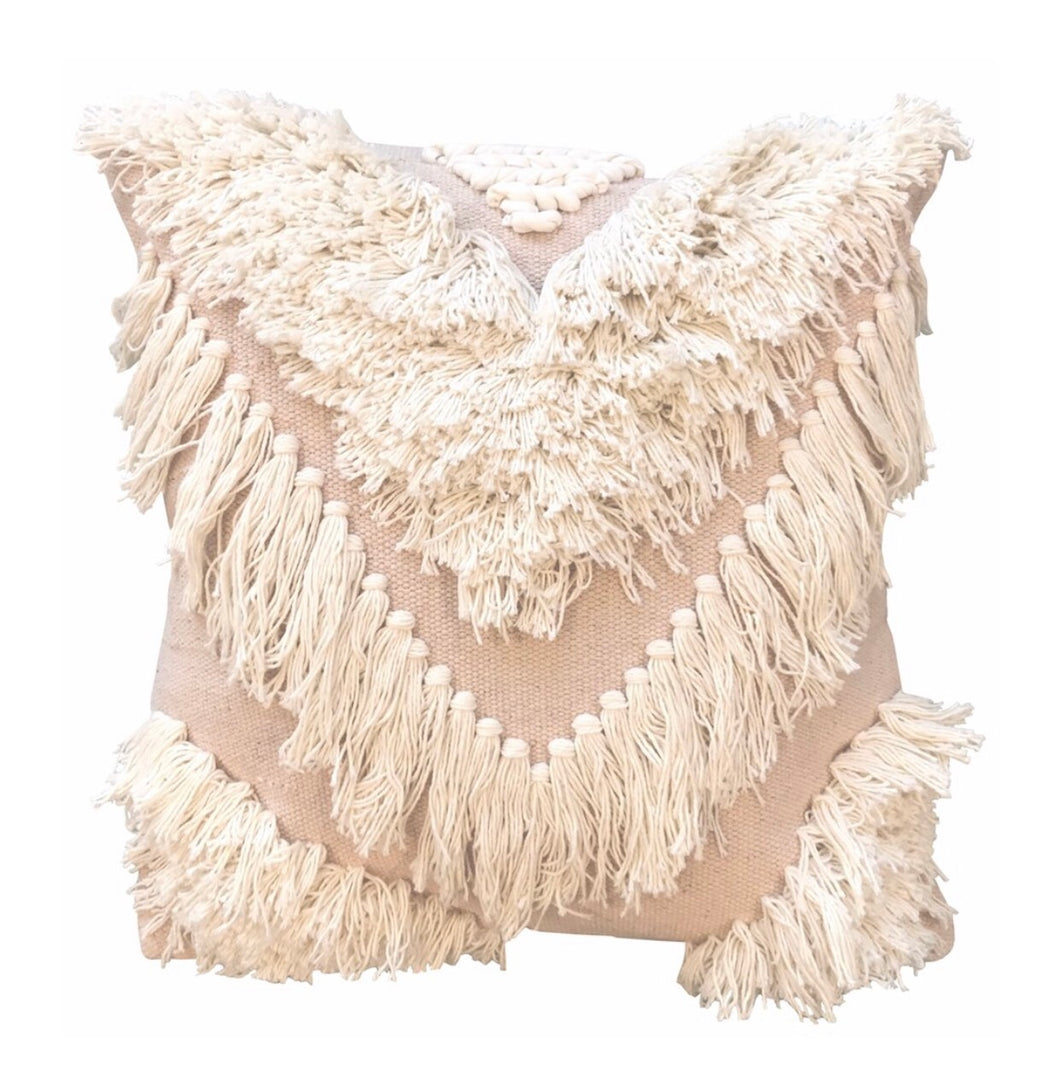 TRIBE FRINGE CUSHION - BLUSH