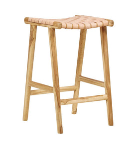 HELLO LEATHER + TEAK STOOL