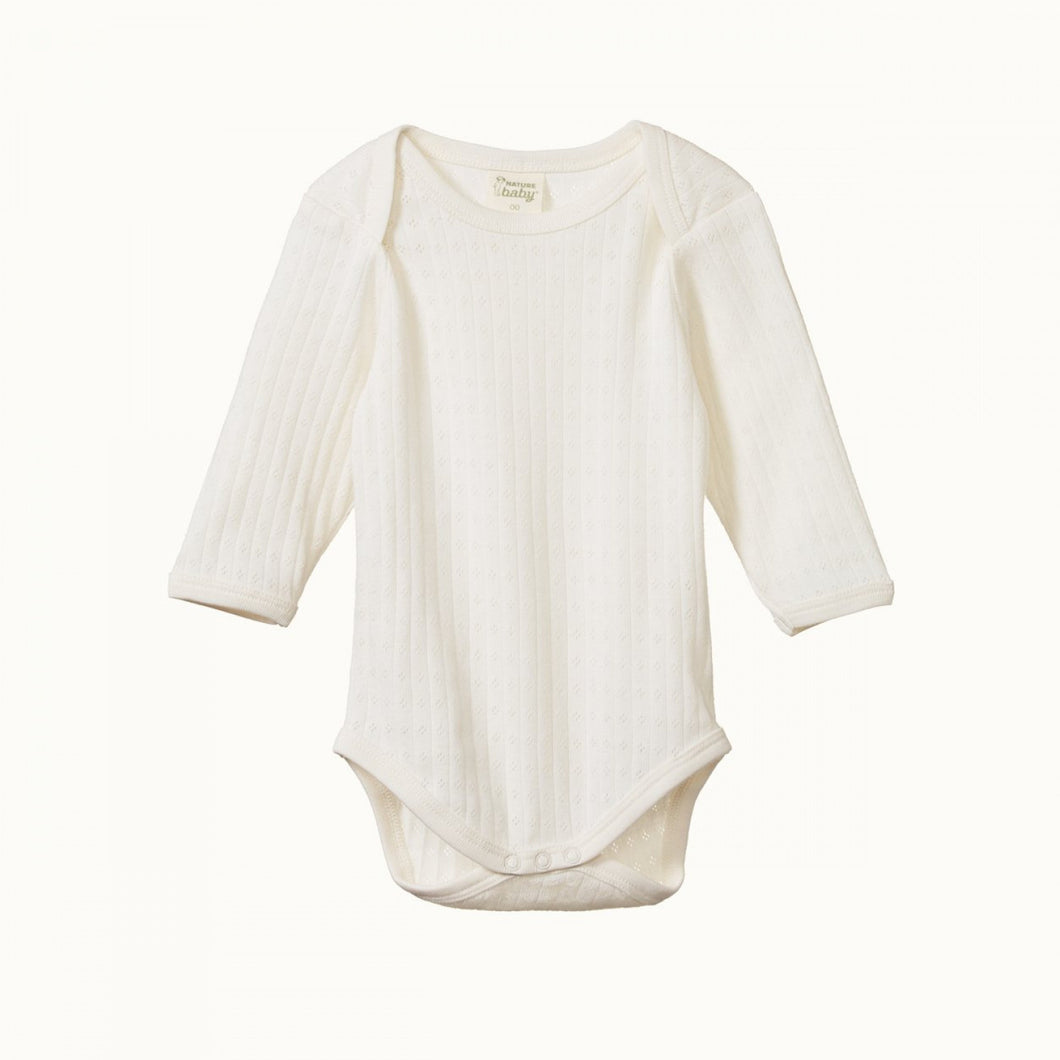 NATURE BABY | L/S BODYSUIT POINTELLE - NATURAL
