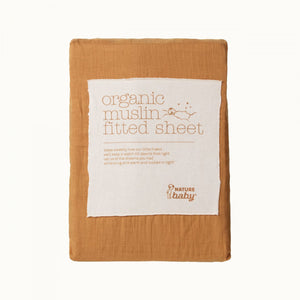 NATURE BABY | FITTED SHEET MUSLIN - STRAW