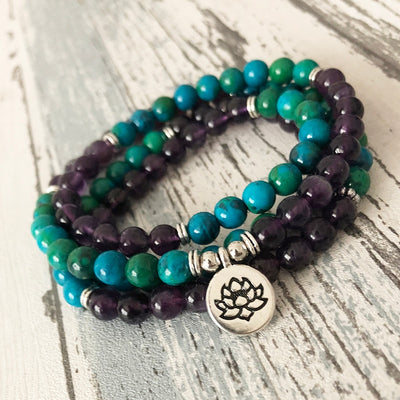 Natural Amethyst and Chrysocolla Mala Bracelet - Spiritual Bliss Shop