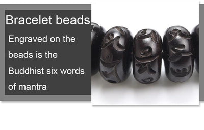 Hand Carved Six-Words Mantra Tibetan Buddhist Bracelet (Jujube Wood) - Spiritual Bliss Shop