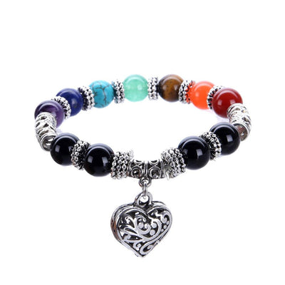 "7 Chakras ""Healing & Love"" Bracelet with Heart Charm - Spiritual Bliss Shop"