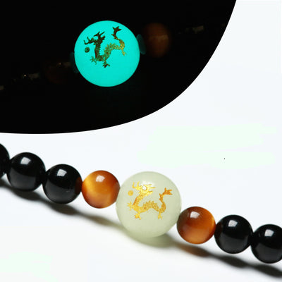 Onyx & Tiger's Eye Mala Bracelet with Luminous Dragon Bead - Spiritual Bliss Shop