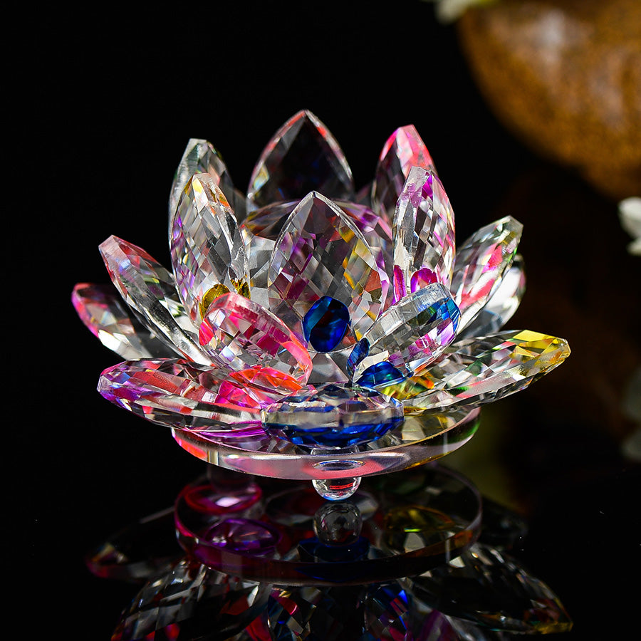 Feng Shui Crystal Lotus Flower 8 Colors Available Spiritual