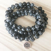 Buddhist Natural Snowflake Obsidian Mala - Spiritual Bliss Shop