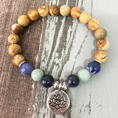 Natural Brown Jasper, Sodalite & Amazonite Soothing Bracelet with Charm (3 Options Available) - Spiritual Bliss Shop