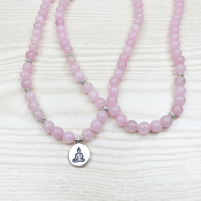 Natural Rose Quartz Mala Bracelet - Spiritual Bliss Shop