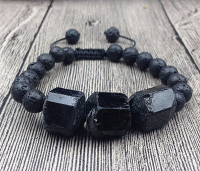 Black Tourmaline and Lava Stone Protection Bracelet - Spiritual Bliss Shop