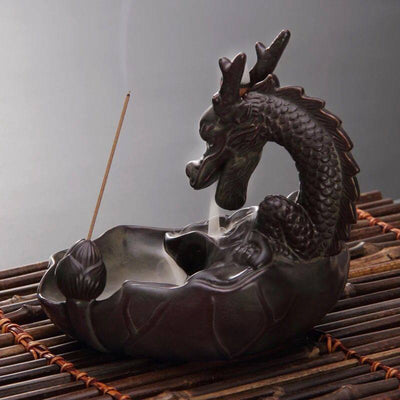 Lotus Dragon Incense Burner - Spiritual Bliss Shop