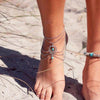 Silver ankle chain + 2 Turquoise Charms - Spiritual Bliss Shop