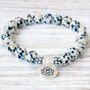 Dalmatian Jasper Bracelet with Lotus Charm - Spiritual Bliss Shop