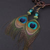 Peacock Feathers Earrings & Natural Stones - Spiritual Bliss Shop