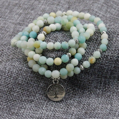 Frosted Amazonite Bracelet with Tree of Life Charm - Spiritual Bliss Shop
