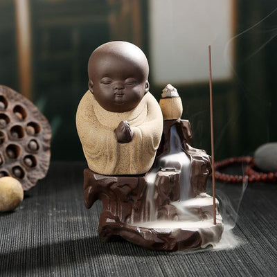 Small Monk on the Cascade Incense Burner + 50Pcs Incense Cones - Spiritual Bliss Shop