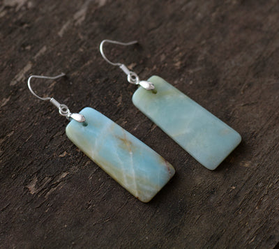 Bohemian Rectangle Amazonite Earrings - Spiritual Bliss Shop