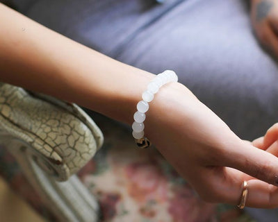 Natural White Chalcedony Positivity Bracelet - Spiritual Bliss Shop