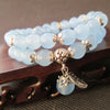 Blue Fluorite Bracelet With Lucky Tibetan Leaf Charm - Spiritual Bliss Shop