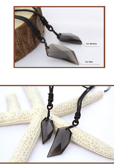 Wolf Tooth Shape Ice Obsidian Necklace - Spiritual Bliss Shop