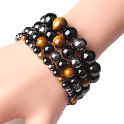 Triple Protection Tiger's Eye, Hematite & Black Obsidian Bracelet - Spiritual Bliss Shop
