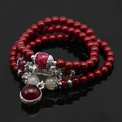 Natural Cinnabar Bracelet with Garnet Charm (Mala) - Spiritual Bliss Shop