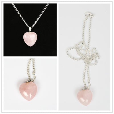 Heart Shape Rose Quartz Necklace (Love) - Spiritual Bliss Shop