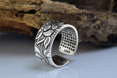 Silver Resizable Heart Sutra Lotus Ring - Spiritual Bliss Shop