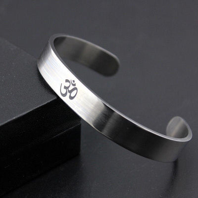 OM Stainless Steel Cuff - Spiritual Bliss Shop