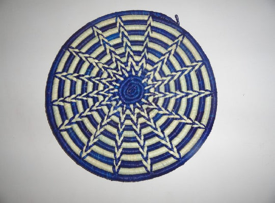Decorative Flat basket (blue/white)