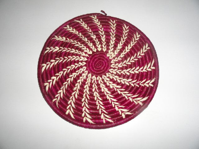 Decorative Flat basket (maroon/white arched)