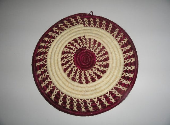 Decorative Flat basket (maroon/white ring)