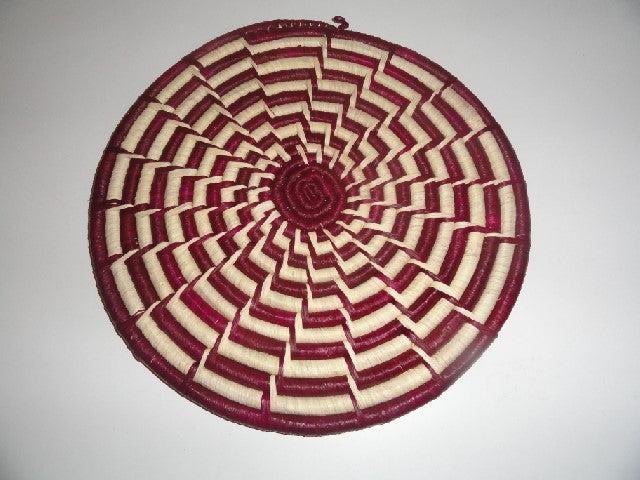 Decorative Flat basket (maroon/white radial)
