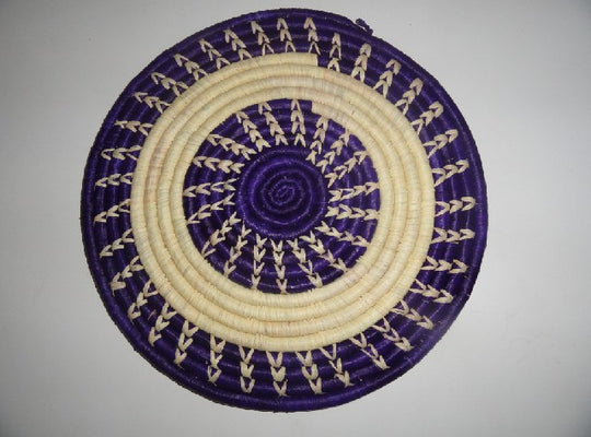 Decorative Flat basket (purple/white ring)