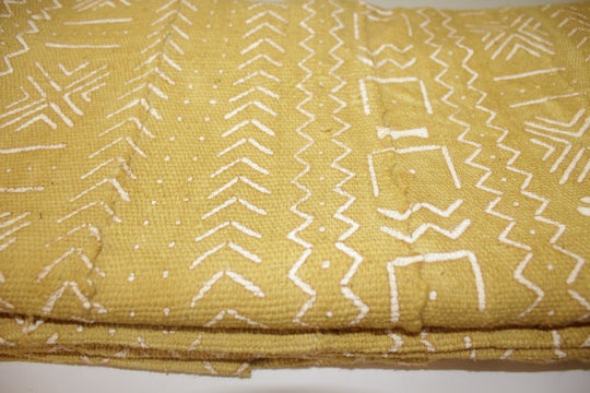 Mud Cloth (Bogolan) – Mustard/white pattern
