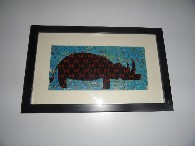 Rectangle Framed Picture – African fabric cutout Rhino