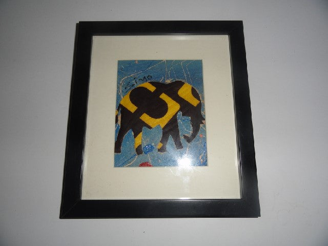 Square Framed Picture – Yellow/black fabric Elephant