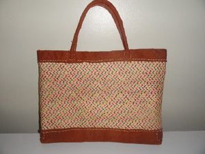 Trendy Bark Cloth/Palm leaves Tote bag (Pink)