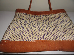 Trendy Bark Cloth/Palm leaves Tote bag (Purple)