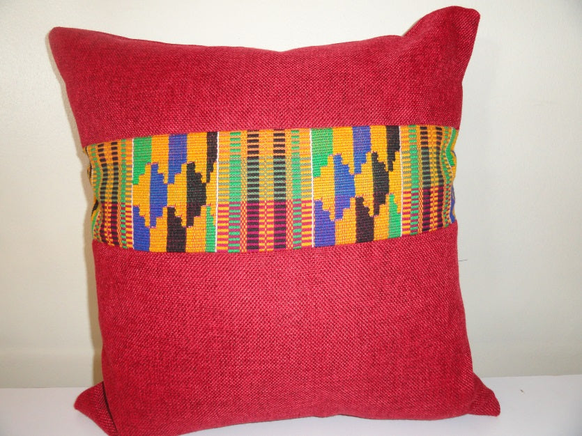 Decorative cushions with traditional Kente cloth from Ghana