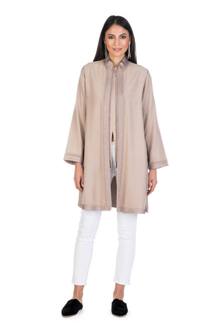 Oatmeal Moroccan Cashmere Tunic Coat