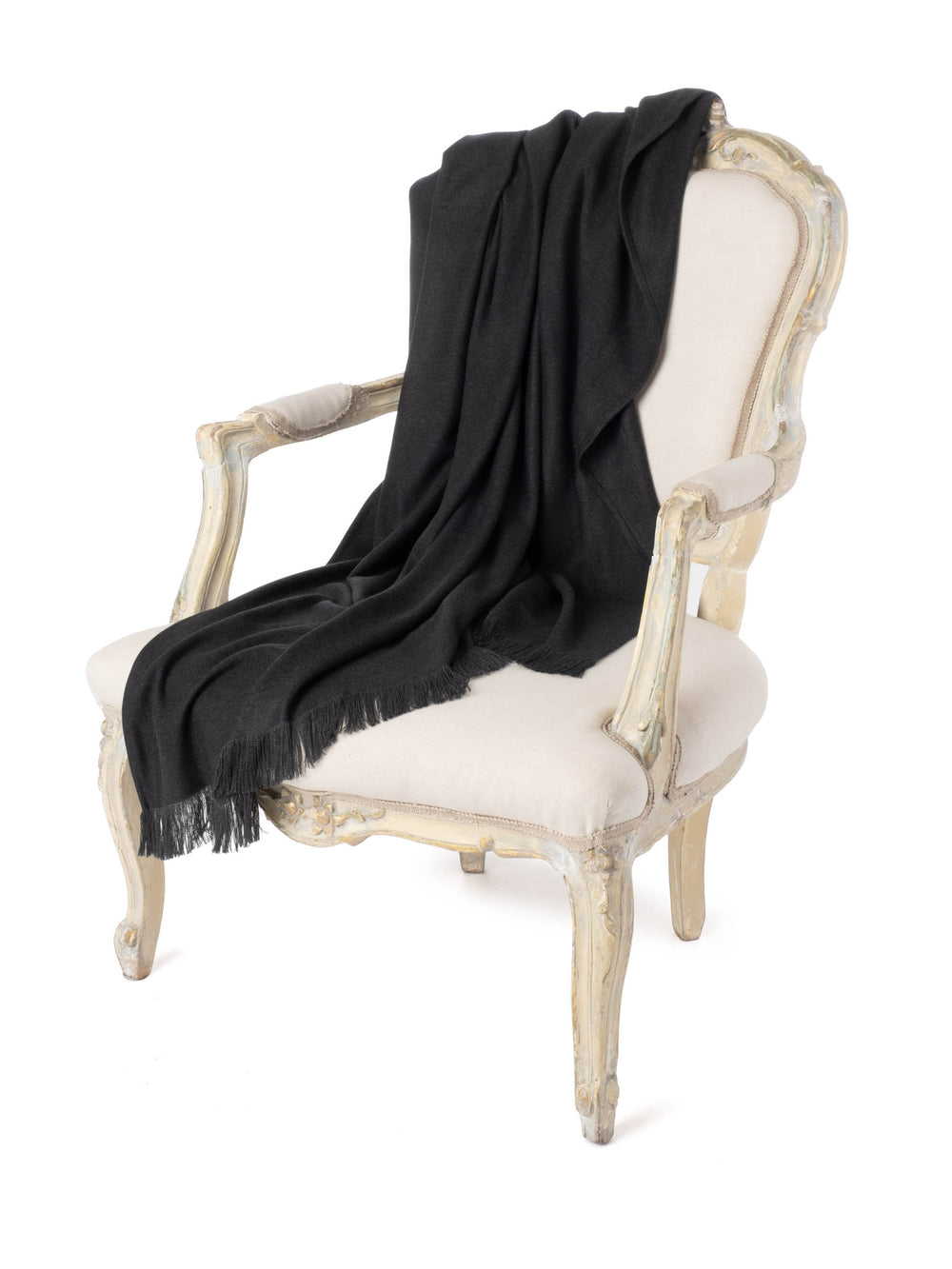 Charcoal Moroccan Cashmere Fringe Throw Blanket