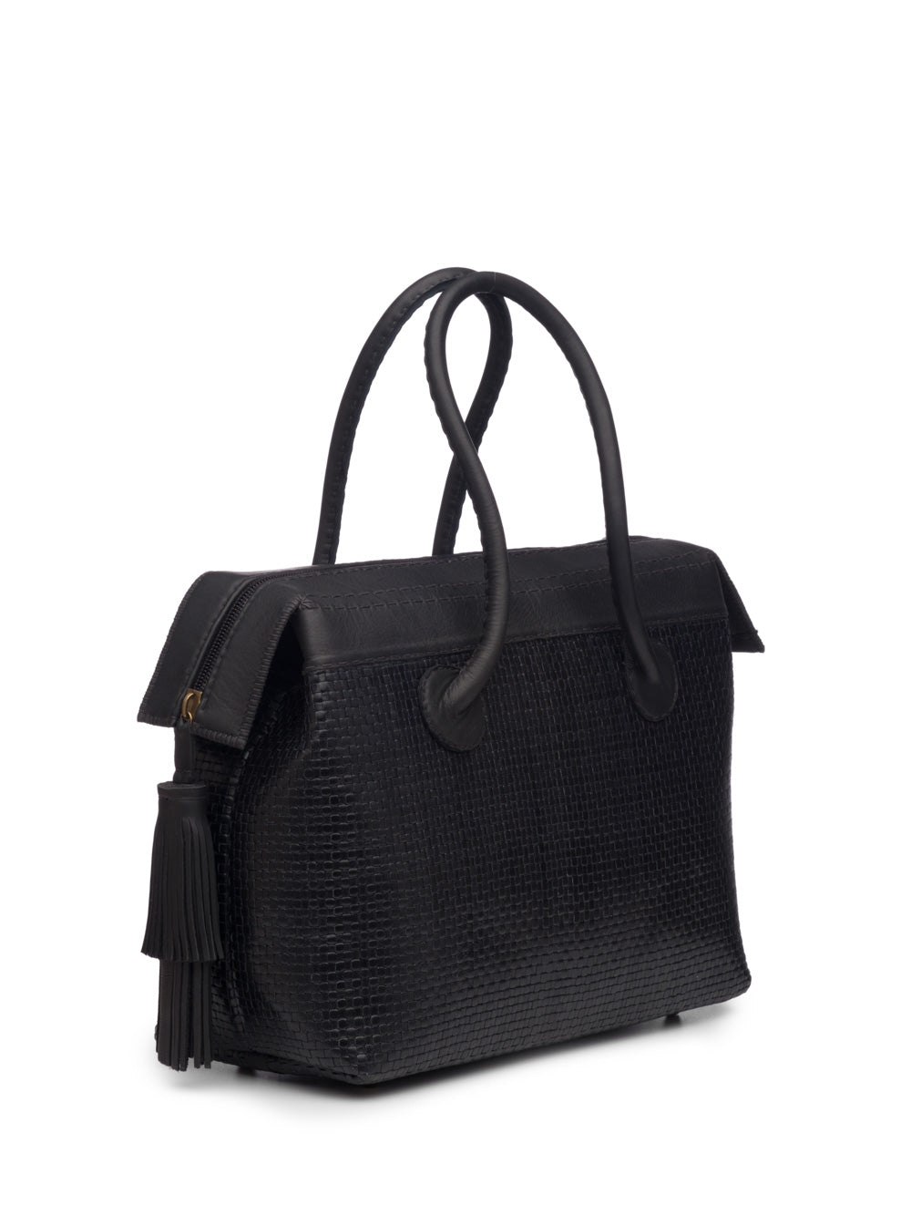 Black Woven Leather Handbag