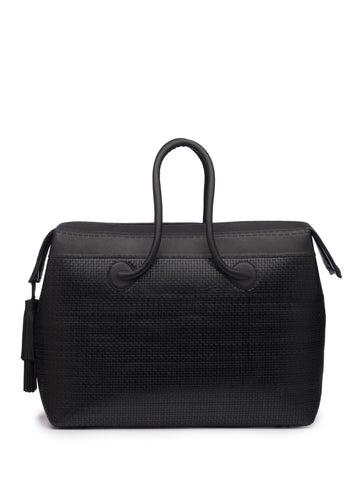 Black Woven Leather Weekend Bag