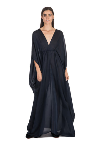 Midnight Blue Silk Kaftan