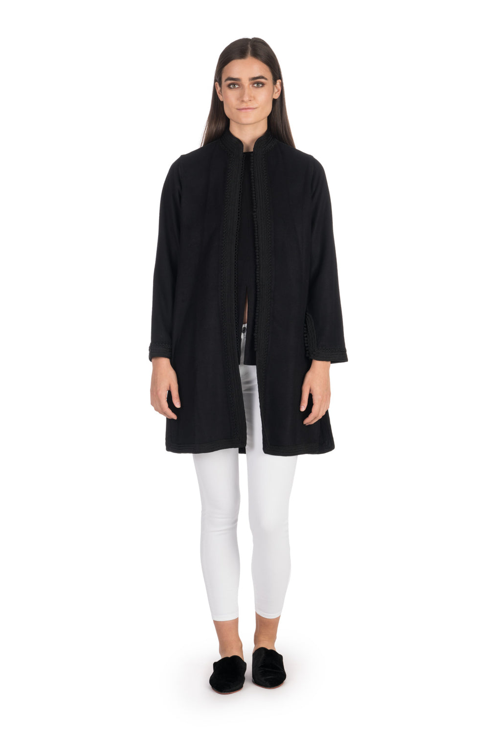 Black Moroccan Cashmere Tunic Coat