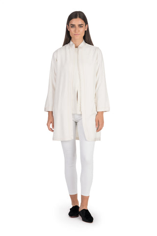 Ivory Moroccan Cashmere Tunic Coat